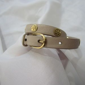 Tory Burch Brown Double Wrap Logo Stud Bracelet